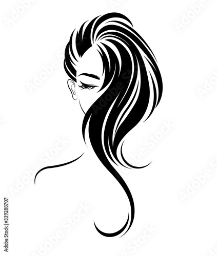 Obraz illustration of women long hair style icon, logo women on white background, vector - fototapety do salonu