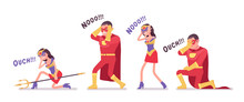 Unlucky Male And Female Super Hero In Attractive Red Costume. Unsuccessful Failed, Man, Woman Warrior With Superpower Combat Skills, Heroic Brave People Defeat. Vector Flat Style Cartoon Illustration