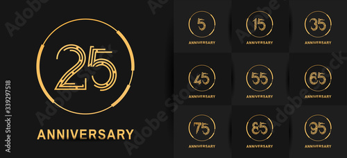 Fotomural Anniversary logotype set with golden color