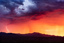 Sunset With Monsoon Storm Clou...