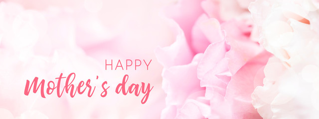 Banner for website with closeup view of pink eustoma flower. Happy Mother's Day.