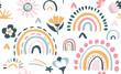 Seamless vector pattern with hand drawn rainbows and sun.