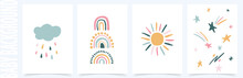 Vector Background With Hand Drawn Rainbows And Sun.