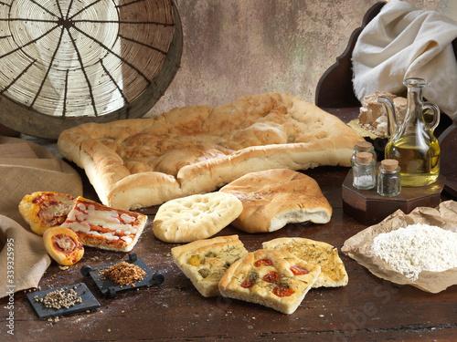 Obraz na plátne Pane Focaccia pizza tradizionale italiana