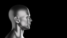 Abstract  3D Render Illustration Image With A Human Head With Silver Texture