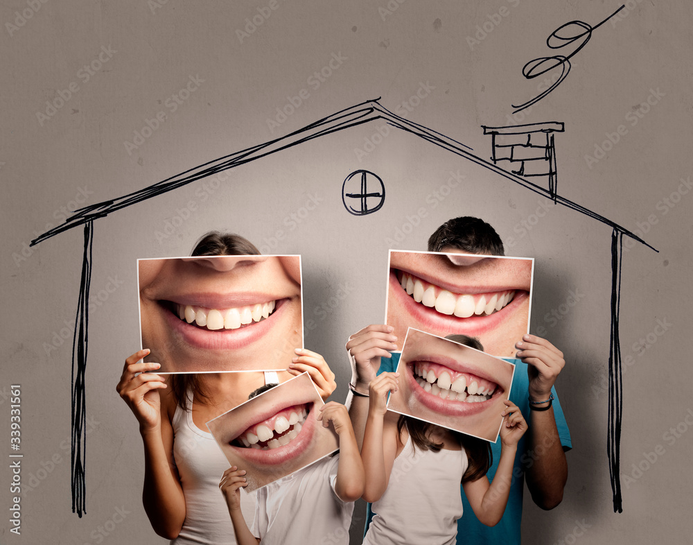 Fototapeta happy young family with children staying home. Confinement concept.