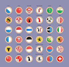 Set Of Vector Icons. Cantons And Regions Of Switzerland Flags.