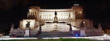 Low Angle View Of Illuminated Altare Della Patria At Night