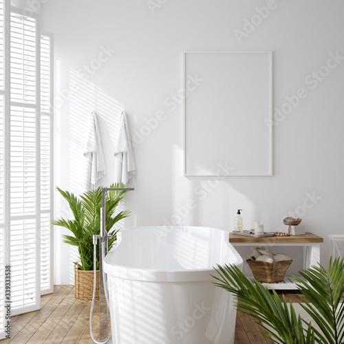 Fotomural Poster mockup in white cozy bathroom interior background, 3d render
