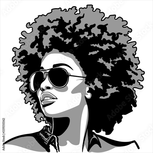African woman silhouette in contrast backlight Wall mural