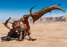 Dragon Is Cowering On Desert