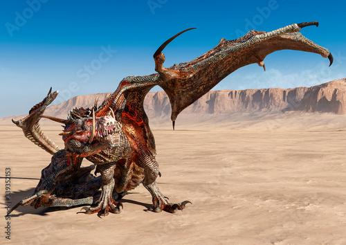 dragon is cowering on desert Fotobehang