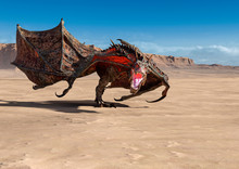 Dragon Is Walking Alone On Desert