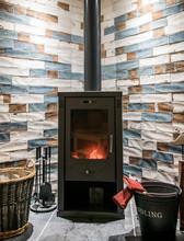 Modern Wood Burning Stove. Til...