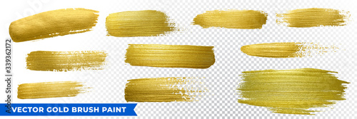 Obraz Gold brush paint strokes, vector golden glitter texture smears. Sparkling glow gold paint background and frames for luxury design - fototapety do salonu
