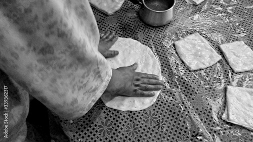 Obraz Midsection Of Person Making Bread - fototapety do salonu