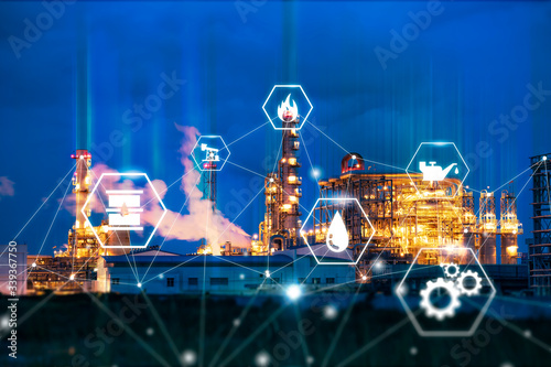 Fotografía industrial oil refinery plantation engineering factory with smart technology ind