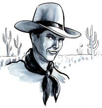 Cowboy In Arizona Desert. Ink ...