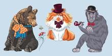 Set Of Hipster Animals. Monkey...