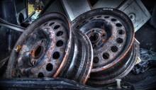 Close-up Of Rusty Car Wheels