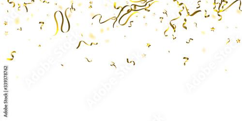 Fototapeta Holiday Serpentine. Gold Foil Streamers Ribbons. obraz na płótnie