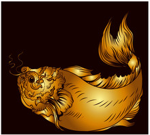 Hand Drawn Koi Carp Fish And  Japanese Tattoo.doodle Art Koi Fish For Japanese Tattoo