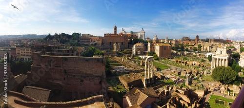 Fotografie, Obraz High Angle View Of Roman Forum Against Blue Sky
