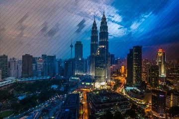 Petronas Towers Against Sky In City At Dusk Seen Through Window