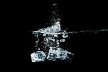 Ice Cubes Drop To Water, Isola...