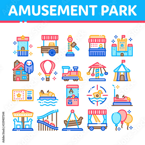 Valokuva Amusement Park And Attraction Icons Set Vector
