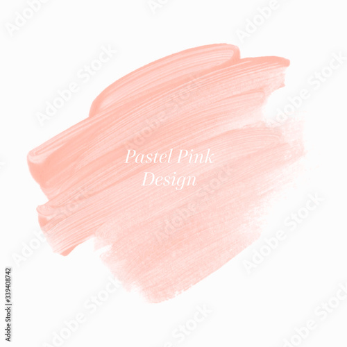 Valokuvatapetti Make up peach paint stroke abstract shape background design vector