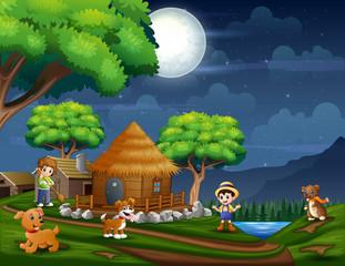 Illustration the farmer in the farmland at night