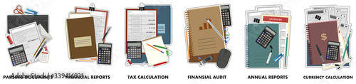 Concept accounting logo. Office business services. Isolated vector on white background. Icons: annual reports, currency tax, calculation, financial audit, reports, parsing documents, calculation.