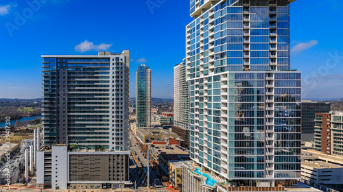 View of modern new construction skyscraper buildings in downtown Austin, Texas w Canvas Print