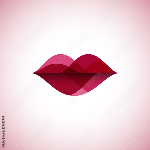 Abstract linear color lips logo Poster Mural XXL