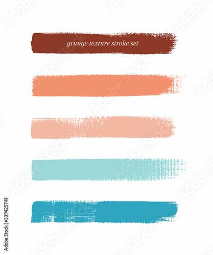 Colorful vintage art brush paint texture stripes set isolated vector background Fototapet