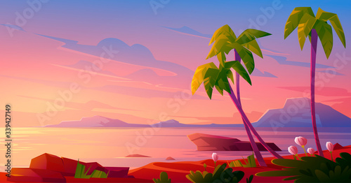 Fototapeta Sunset or sunrise on beach, tropical landscape with palm trees and beautiful flowers on seaside under pink cloudy sky. Evening or morning idyllic paradise, island in ocean, Cartoon vector illustration obraz