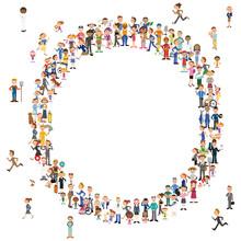 大きな集団の円と人々...