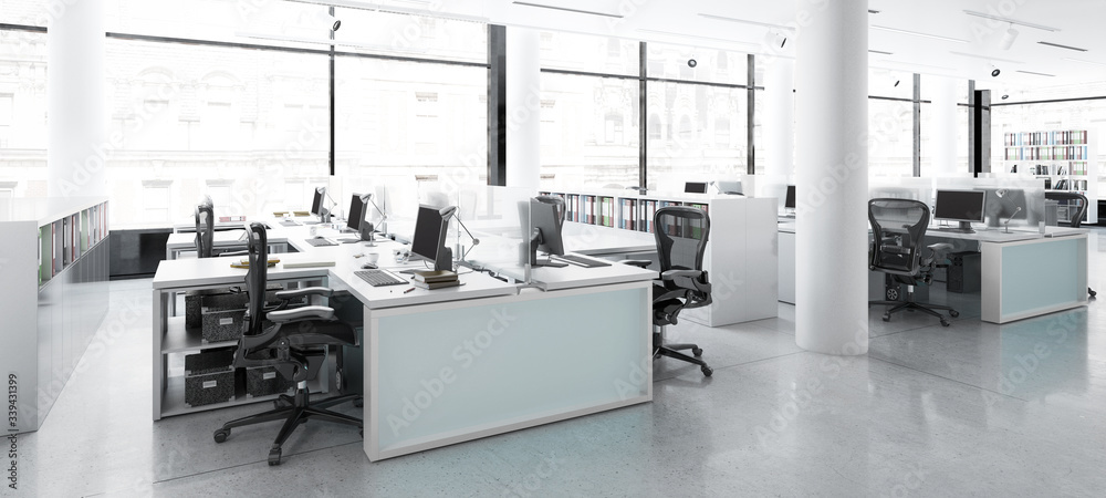 Fototapeta Modern Office Center Adaptation - panoramic 3d visualization