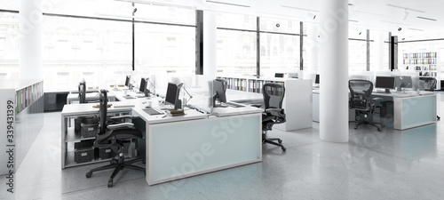 Fototapeta Modern Office Center Adaptation - panoramic 3d visualization obraz