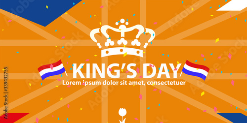 Photo Koningsdag and King's Day design template for poster, card, invitation, header, cover, placard, brochure, flyer and more