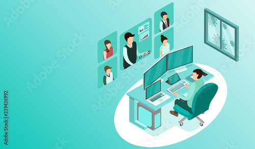 Fototapeta Man working with pc at his work desk with video conference, Working from home, Outside window is virus cells, programmer, business analysis, designer, freelancer, Isometric COVID-19 vector. obraz na płótnie