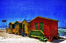 Landscape With Colorful Changing Huts On The Beach In Muizenberg In Cape Town
