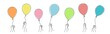 Hands holding balloons. Hand drawn vector illustration