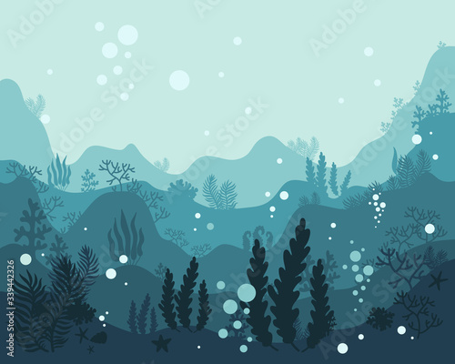 Fotografia background underwater world, sea ocean, fish animals, algae and coral reefs, vec