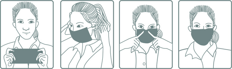 Illustration of how to wear medical mask. Flat design illustration. Pictogram.