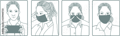 Fototapeta Illustration of how to wear medical mask. Flat design illustration. Pictogram. obraz
