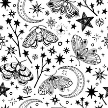 Seamless Vector Pattern. Black White Butterflies And Stars. For Textiles, Office, Wallpaper