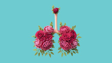 Botanical Floral Lungs With Red Blooming Roses, Peonies, Chrysanthemum, Green Eucalyptus. Bronchial Tree. Respiratory System. Medical Concept Of Healthy Human Lungs. 3d Illustration On Blue Background