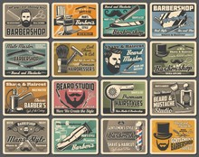 Barbershop Mustaches And Beard Shave, Hairdressing Salon Retro Posters. Barber Chair And Pole Signage, Hairdresser Scissors And Gentleman Hat, Razors, Shaving Brush And Hair Dryer